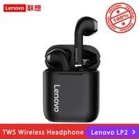 Lenovo-auriculares inalámbricos LP2 con TWS, cascos con Bluetooth 5,0, Control táctil, estéreo Dual, con micrófono, Deportivos