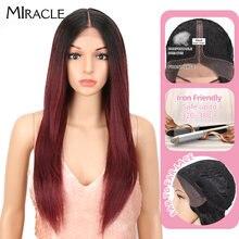 Чудесный парик из волос на сетке спереди прямой красный 26 дюймов