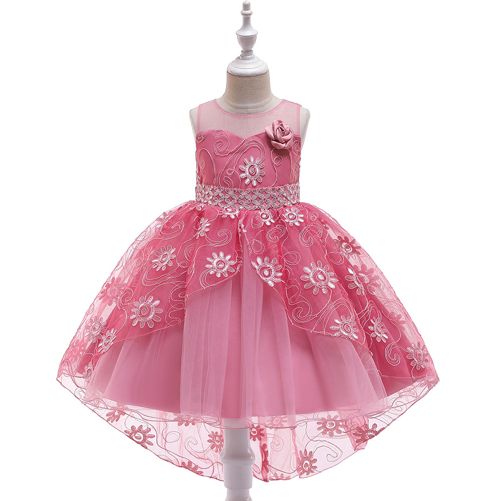 Amazon Childrenswear Wholesale Tailing Dress Girls Sequin Embroidery Dress Children Wedding Dress Tailing Princess Skirt