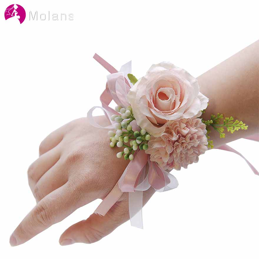MOLANS Vintage Cotton Stimulation Flower Bridesmaid Corsages For Bridal Wedding Accessories Simple Solid With Ribbons Bracelet
