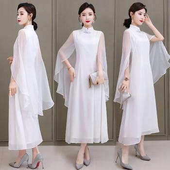 Ladies White Long Elegant Shawl Dress 2020 Summer Modified Cheongsam Chinese Banquet Qipao Evening Dresses