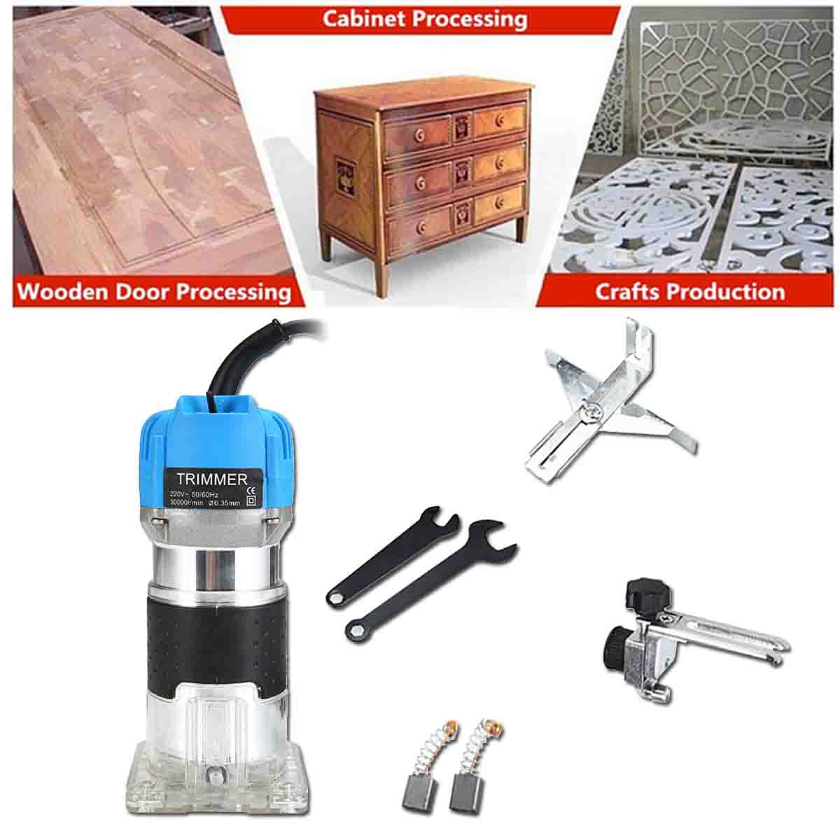 Tools : 220V 3000W Electric Trimmer Handheld Woodworking Laminator 6 35mm Collet Wood Router Milling Engraving Slotting Joiner Machine