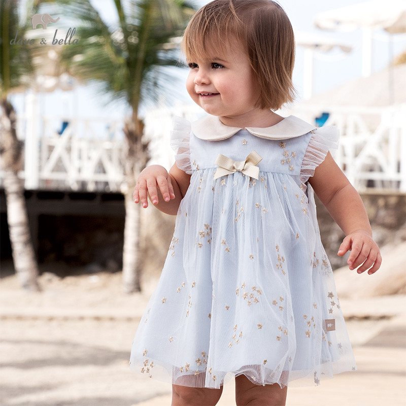 DB13066 Dave Bella Summer Baby Girl's Cute Bow Embroidery Mesh Dress Children Fashion Party Dress Kids Infant Lolita Clothes