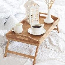 Table à manger pliable Portable en bambou bureau dordinateur Portable pour ordinateur Portable pour canapé lit Table dordinateur Portable sur les Tables de lit