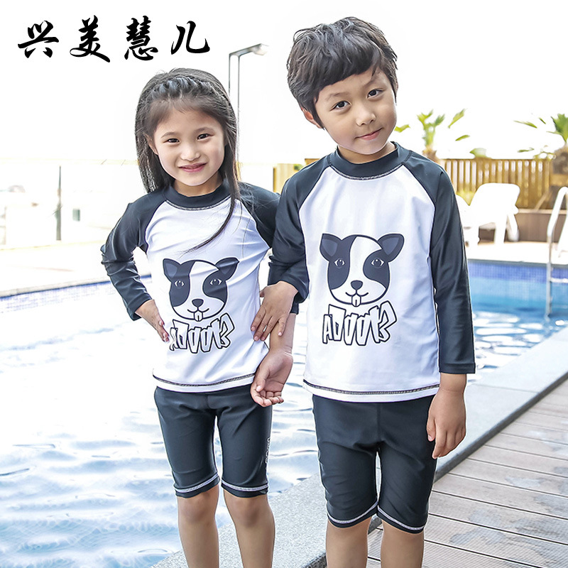 18 New Style Hot Sales Two-piece Swimsuits Long Sleeve Short Black And White Cartoon Sun-resistant Hot Springs For Both Men And
