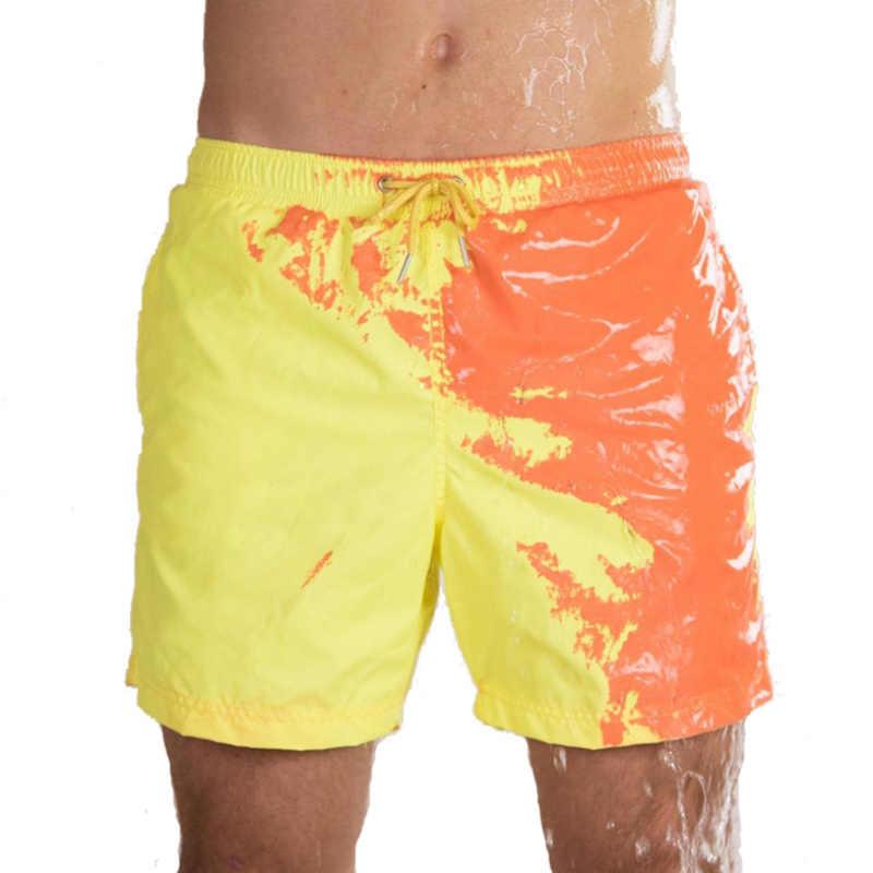 السحرية تغيير لون شورتات للبحر الصيف الرجال سراويل للسباحة ملابس السباحة سريعة الجافة الاستحمام السراويل الشاطئ بانت انخفاض الشحن