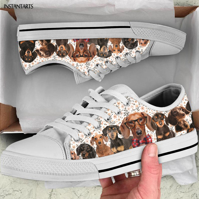 INSTANTARTS Cute 3D Dachshund Dog Design Low Top Canvas Shoes Women Unisex Girls Casual Sneakers Light Lace Up Vulcanized Shoe