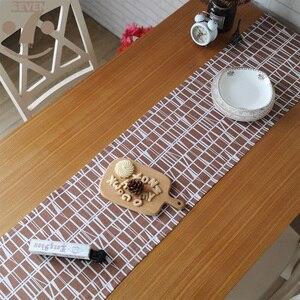 Image 5 - 33 × 145 センチメートルホーム装飾農家木材笑顔幾何学模様の綿リネンテレビスタンドベッドサイドキャビネットテーブルランナー