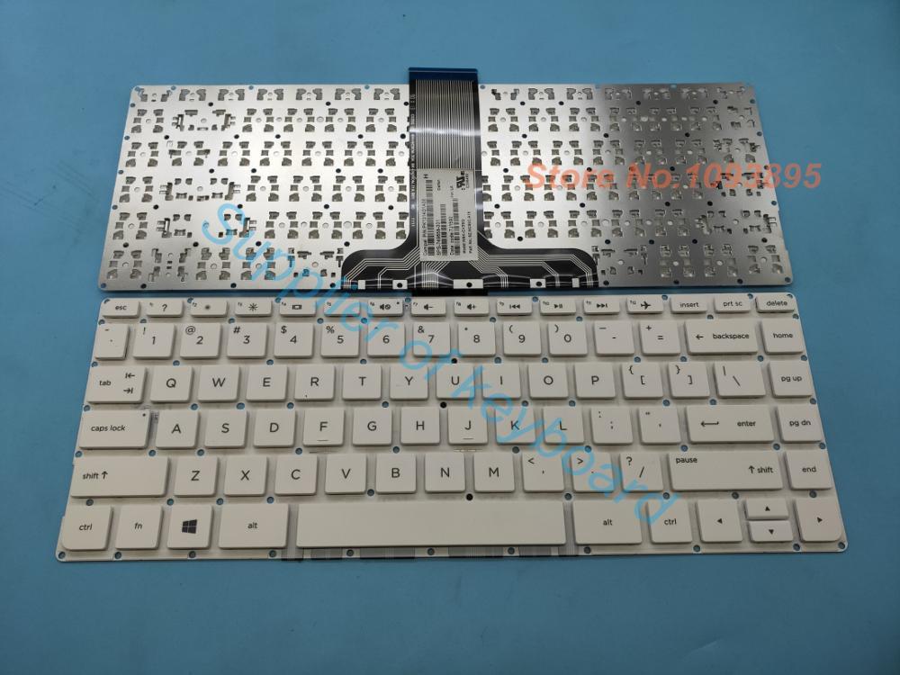 New For HP stream 14-ax012ds 14-ax020nr 14-ax020wm Keyboard US No Frame White
