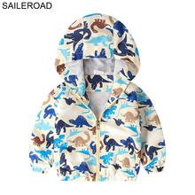 SAILEROAD kurtki dla chłopca z nadrukiem dinozaura kurtki jesienne dla chłopców dziewczynka płaszcze i kurtki odzież wierzchnia dla dzieci tanie tanio Na co dzień COTTON Poliester Zwierząt REGULAR Z kapturem Kurtki płaszcze Pełna Pasuje prawda na wymiar weź swój normalny rozmiar