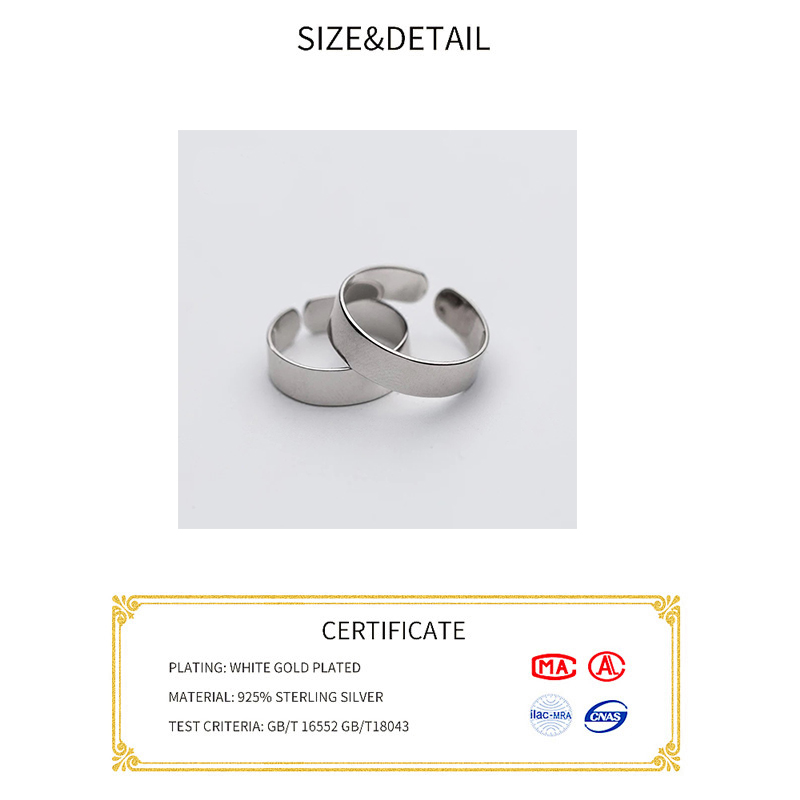 Real 925 Sterling Silver Minimalist Wide Glossy Opening Ring For Fashion Women Party Elegant Lines Fine Jewelry Gift