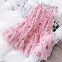 Spring Floral Print Mesh A-Line Long Skirt SF