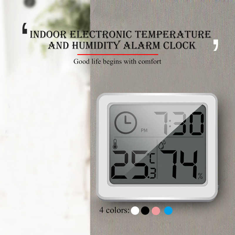 Urijk LCD Digital Temperature Humidity Meter Home HTC Indoor Outdoor hygrometer thermometer Weather Station with Clock