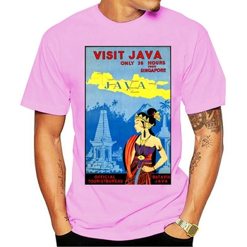 Men t-shirt Vintage Travel Poster Indonesia Java Batavia tshirt Women t shirt image