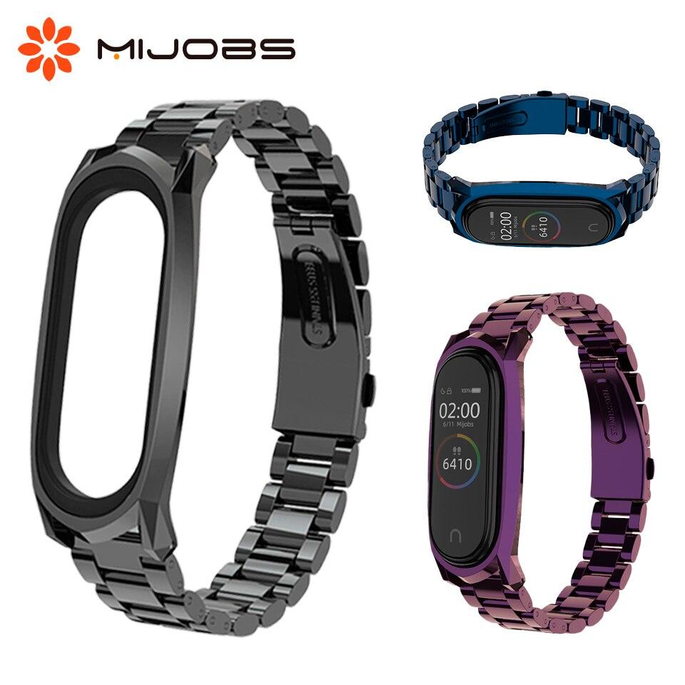 Mijobs Mi Band 4 Wrist Strap Metal For Xiaomi Mi Band 4 3 Smart Watch Wristband Screwless Stainless Steel Miband 4 Band Bracelet