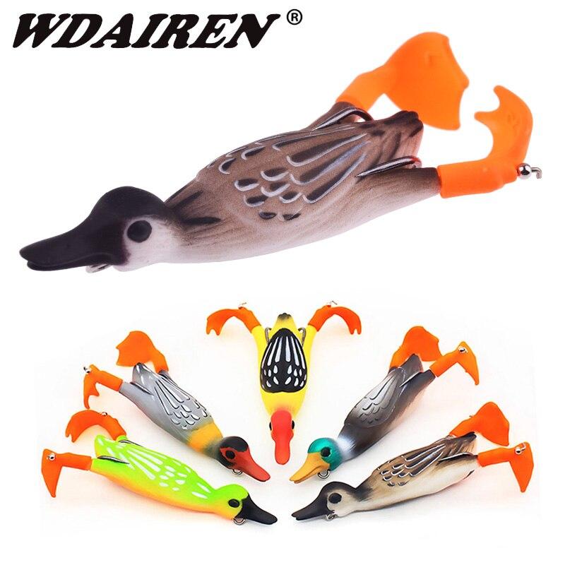 1Pcs Propeller flipper duck Fishing Lure Ducking Fishing Frog Lure 9.5cm 11.2g Artificial Bait Duckling 3D Eyes Day Baits Bass-0