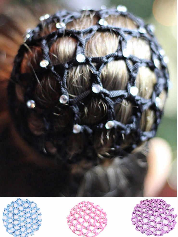 2019 Indah Bun Penutup Jaring Rambut Wanita Rambut Bersih Balet Tari Skate Crochet Fanchon Berlian Imitasi Gaya Hiasan Kepala Aksesoris