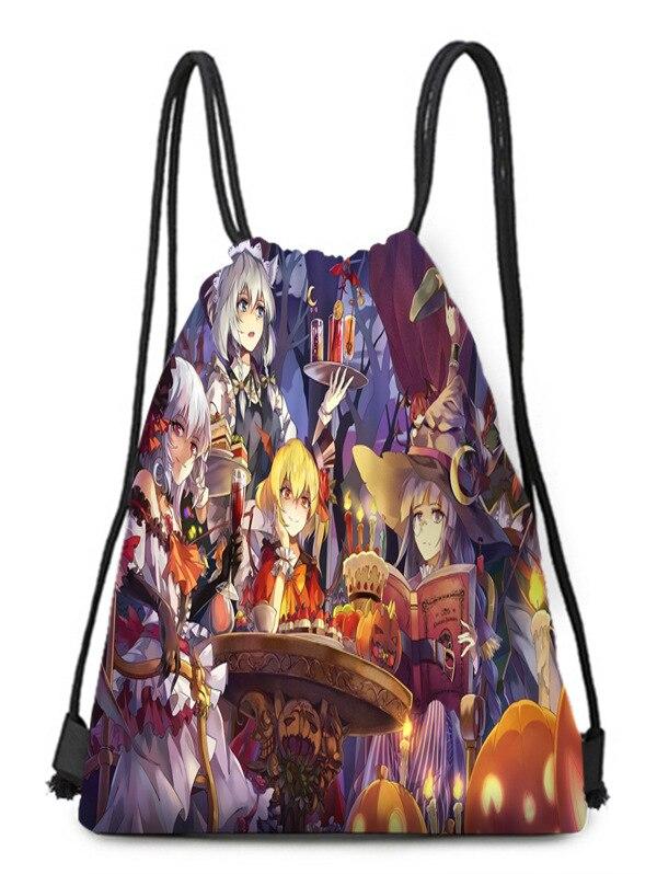 Halloween Cartoon Backpack Bag Folding Bag Bundle Pocket Perforated Bag