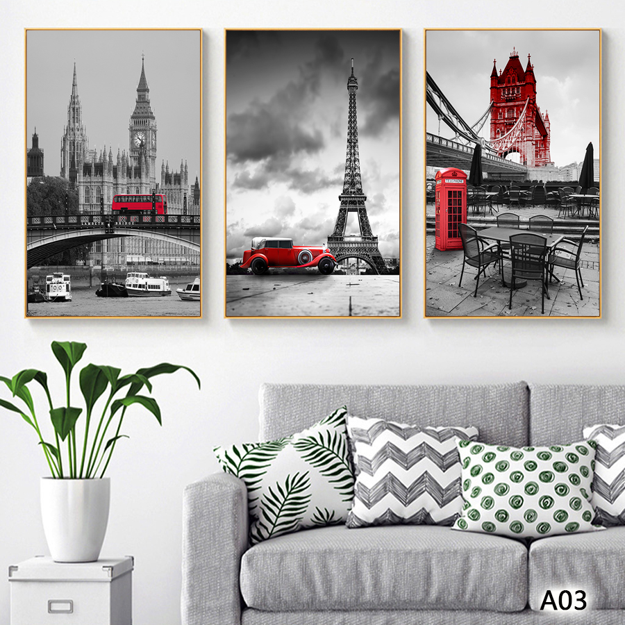 Abstract Oil Painting Print on Canvas 4pcs Paris Tower London Booth Bus View Canvas Art Printing Wall Art Picture for Home Decor