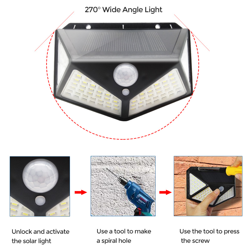 100 LED Solar Light Outdoor Solar Lamp PIR Motion Sensor Wall Light Waterproof Solar Sunlight Powered Garden street light (10)