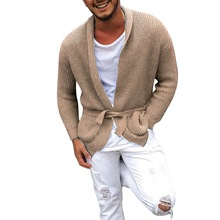 CYSINCOS Long Sleeve Midi Sweater Cardigan Mens Coat Winter Autumn Casual Solid Color Male Pull Homme Hiver Sweaters