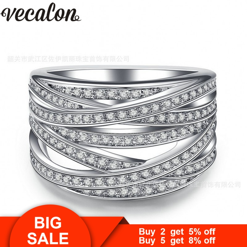 Vecalon Trendy Cross Women ring Pave set AAAAA Zircon Cz Wedding Band Ring White Gold Filled Female Finger ring fashion jewelry