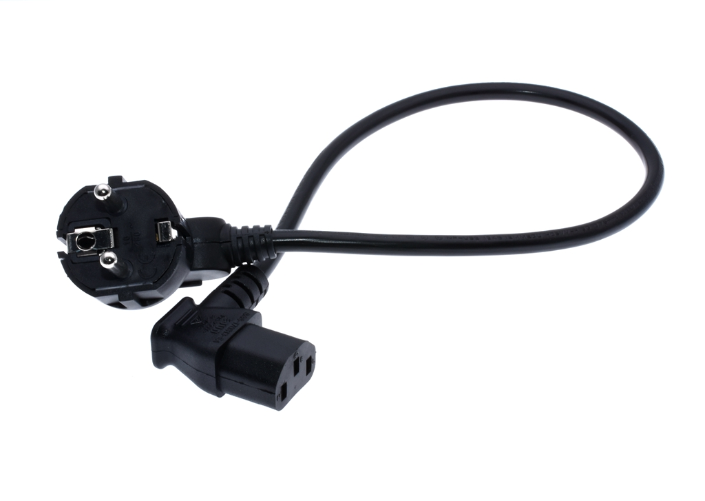Short 0.3M/1ft European 3 Pin Male To IEC 3 Pin Female ,Schuko To C13 Left Angled  Power Cord