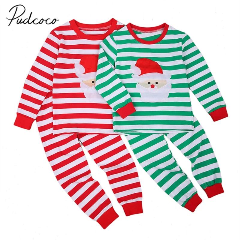 2PCS Toddler Child Kids Boy Christmas Long Sleeve Top Pants Sleepwear Pajama Set