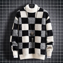Thick Cashmere Sweater Men Tops Turtleneck Winter Male Plaid Pullovers Comfortable Mens Christmas Sweaters Keep Warm Pull Homme