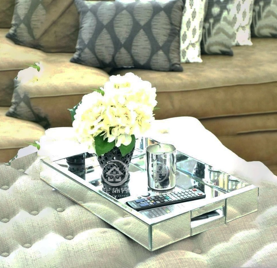 Rectangle Glass Mirrored Tray Modern Table Makeup Tray Mirror
