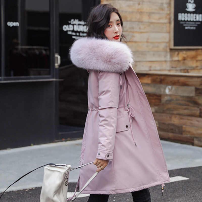 % 2019 pamuk astar sıcak tutan kaban ve su geçirmez ceket kadın artı boyutu ince uzun ceket kadın kış büyük kürk kapüşonlu parka Mujer mont