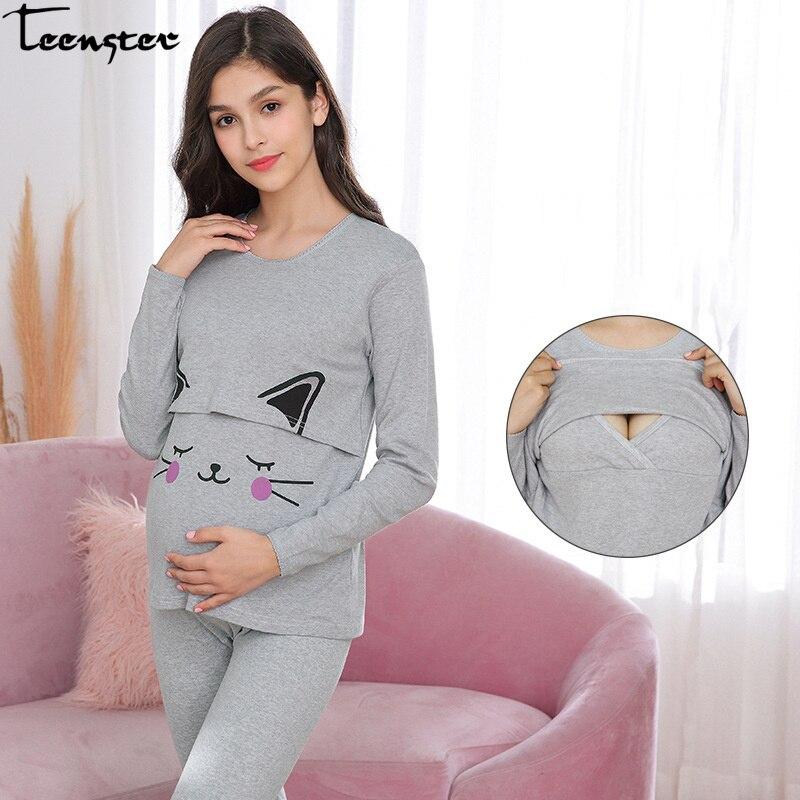 Maternity and Nursing Set Pregnant Pajamas Postpartum Nightwear Premama Cotton Tops&pants Long Sleeve Top&pants Spring Clothing