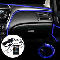 LEEPEE 6 Meter RGB Car Atmosphere Lamps Fiber Optic Ambient Lamp Remote/App Control Car Interior Light Decorative Dashboard Door