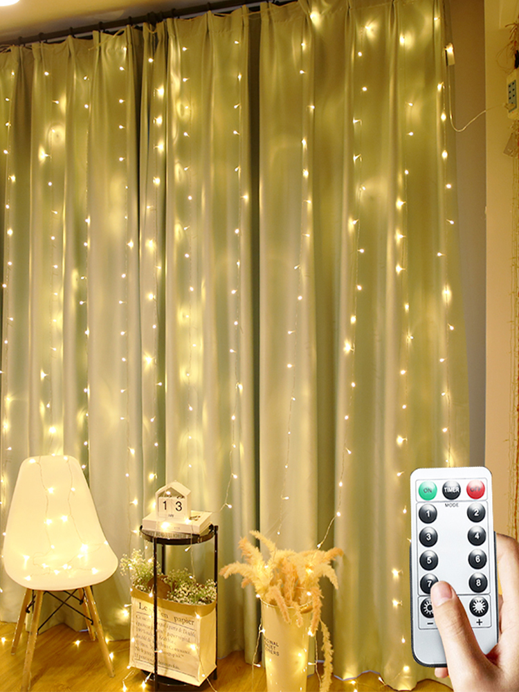 LED Garland Icicle String Lights 2/3/6M Remote 7 Flash Christmas LED Curtain Fairy Lights