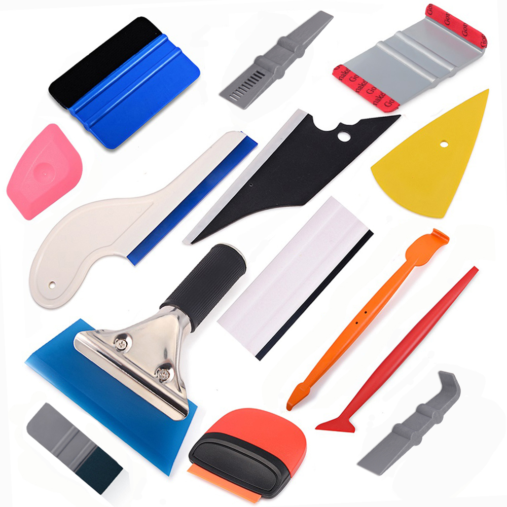 FOSHIO Vinyl Car Wrap Install Tool Kit 1 Set Include Suede Felt Black 4 Inch Squeegee and White Mini Squeegee for Solar Window Film Application and Home Tint Tool Kit