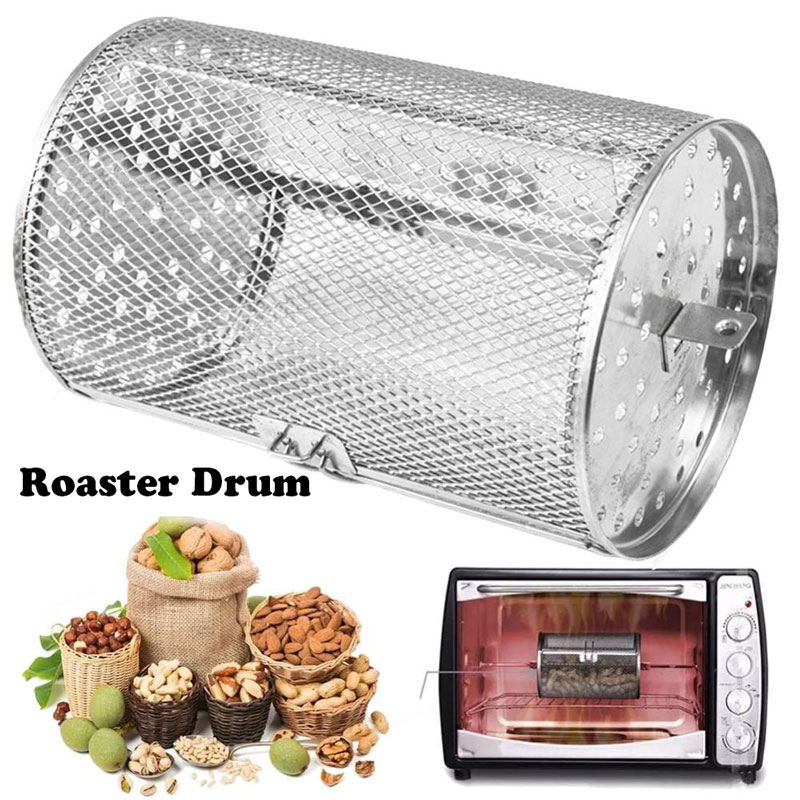 Oven Grilled Cage Roaster Drum Cage Barbecue Basket Stainless Steel Rotisserie Drum Oven,Baking nuts, Coffee beans,Peanut(China)
