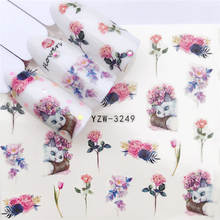 Yzwle 1 PC PANDA/Hitam Mawar/Bunga Water Transfer Nail Art Sticker Kecantikan Daun Maple Merah Stiker Kuku seni Dekorasi(China)