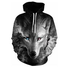 New mens personality animal 3D cartoon hoodie fashion printed wolf head, lion head casual sports