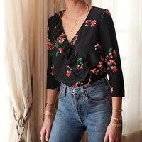 Women Shirt Begonia Silk Shirt Ruffled Large V neck Silk Top