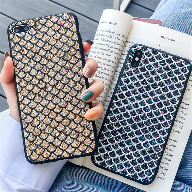 Bling Fish scale Glitter <font><b>Phone</b></font> <font><b>Case</b></font> For <font><b>OPPO</b></font> Reno 10x Back Cover <font><b>A3S</b></font> A5 S A7 A9 For <font><b>OPPO</b></font> F1S A59 A79 A83 R17 F5 F7 F9 <font><b>Case</b></font> image