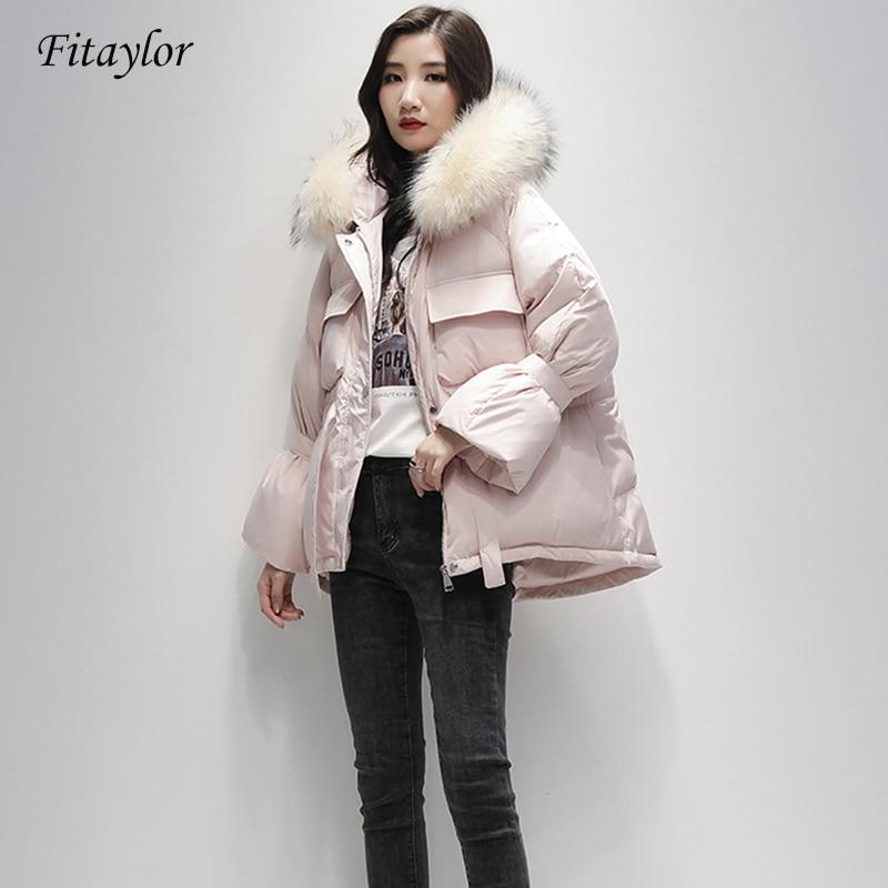 Fitaylor Large Natural Raccoon Fur Down Coat Winter Jacket Women 90% White Duck Down Coats Sash Tie Up Short Warm Snow  Parkas