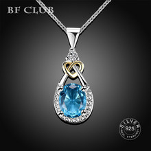 BF CLUB925 Sterling silver Jewelry Water Drop Necklace & Pendant Blue Stone CZ Engagement Wedding Necklace for Party Accessories(China)