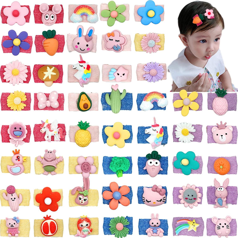 Милые детские заколки для волос, 50 шт., тонкие волосы Lanugo, мини-зажимы для волос с мультяшным рисунком для малышей, младенцев, малышей, девочек и детей