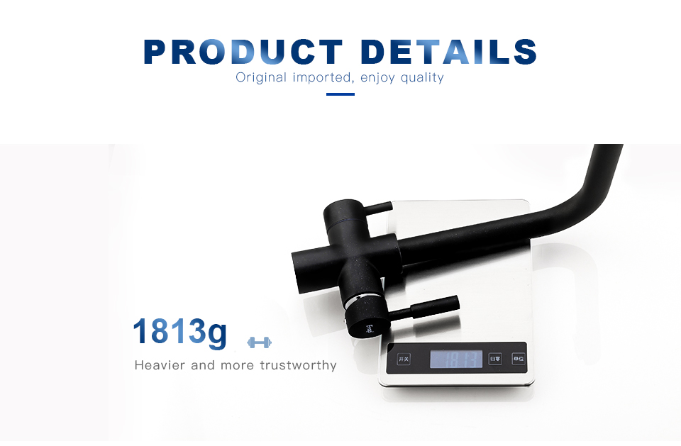 Hc3951efb715545aa94a39bb0879686303 Frap New Black Kitchen sink Faucet mixer Seven Letter Design 360 Degree Rotation Water Purification tap Dual Handle F4352 series