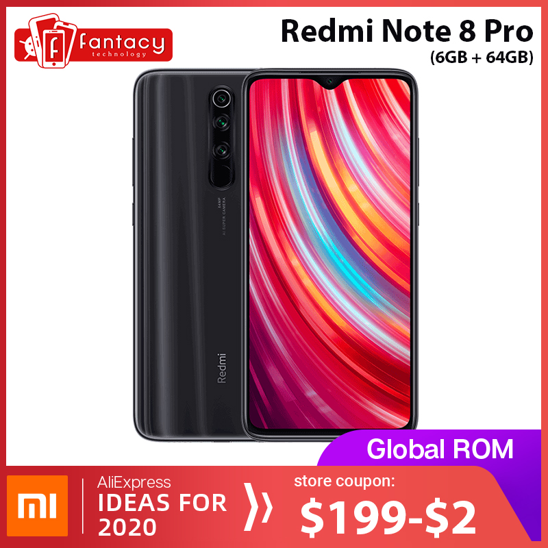 ROM Global Xiaomi Redmi Note 8 Pro 6GB 64GB 64 MP quatre caméras MTK Helio G90T Smartphone 6.53 ''FHD + 4500mAh 18W QC 3.0