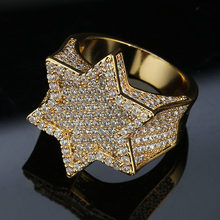 New Hexagon Star Silver Color Blue Iced Out Cubic Zircon Rings Micro Paved Personality Hip Hop Jewelry For Gifts(China)