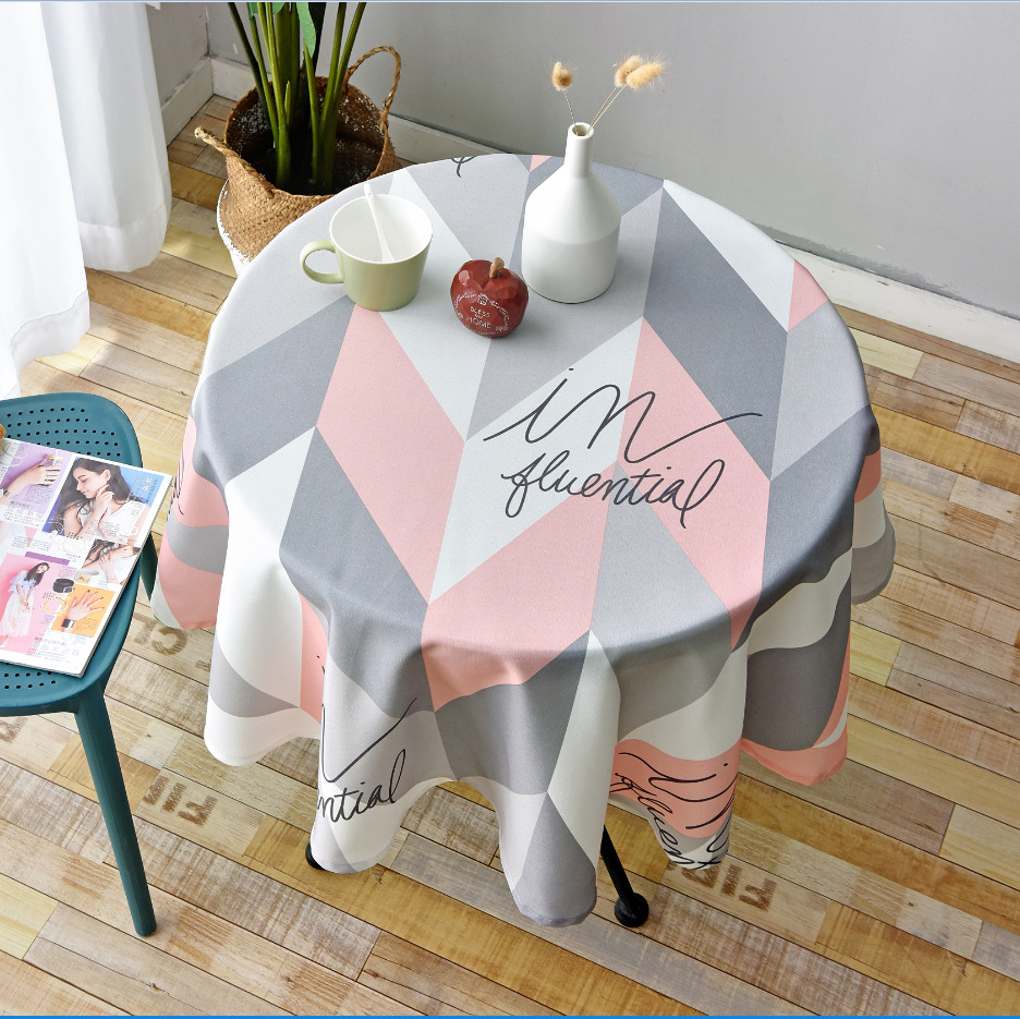 Nordic Style Round Tablecloth Simple Waterproof Restaurant Hotel Household Round Table Cloth Printing Plaid Geometric Animal