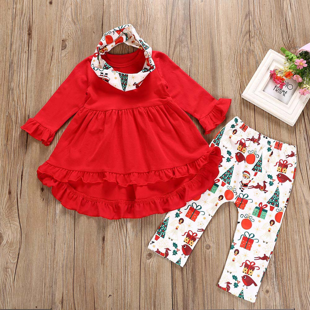 Toddler Baby Kids Girl Clothes Deer Tunic Dress Scarf with Leggings 3pcs Outfit Set
