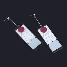 Démon Slayer Kimetsu no Yaiba boucles d'oreilles Kamado Tanjirou Cosplay pince boucles d'oreilles pour femmes hommes 1:1 bijoux personnalisés livraison directe