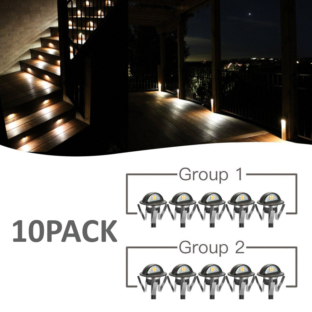 10pcs/Lots Indoor And Outdoor LED Step Stair Lighting Fixtures Waterproof Recessed In Wall Deck Light DC12V IP65 US/EU Plug